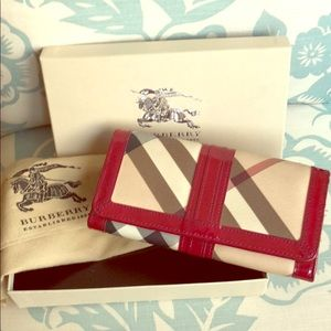 Burberry Nova Check Plaid Leather Raspberry Wallet
